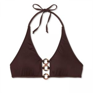 NWT Mossimo Ring Halter Bikini Top Medium Brown